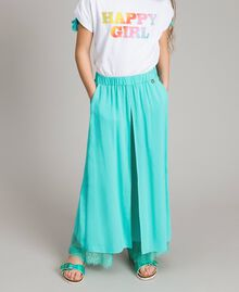 "Flowing fabric trousers with lace ""Island Paradise"" Light Blue Child 191GJ2430-0S"