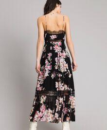 """Robe longue en georgette à imprimé floral Imprimé Noir Rose """"Fleur De Pêcher"""" Femme 191TP2717-04"""