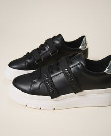 Faux leather trainers with logo Black Woman 202MCT010-01
