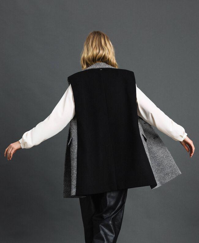 Double breasted chevron wool cloth waistcoat Black Jacquard / Creamy White Woman 192ST2101-03