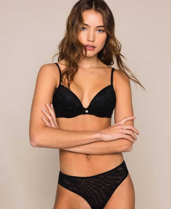 Tulle Brazilian briefs with hearts