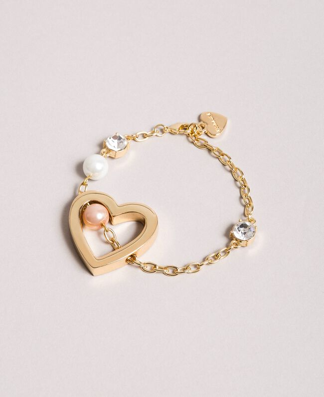 Bracelet with heart pendant, pearls and stones Gold Yellow Woman 191TQP012-01
