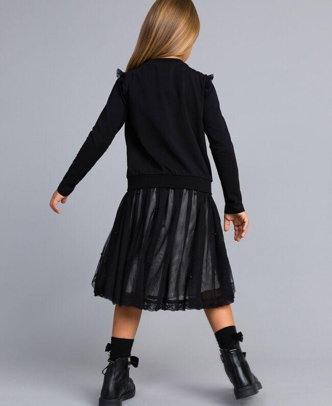 Jersey sweatshirt with pearls and tulle Black Child GA82U2-03