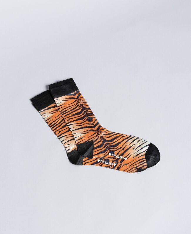 Chaussettes imprimées Imprimé Tigre Femme OA8T3H-01