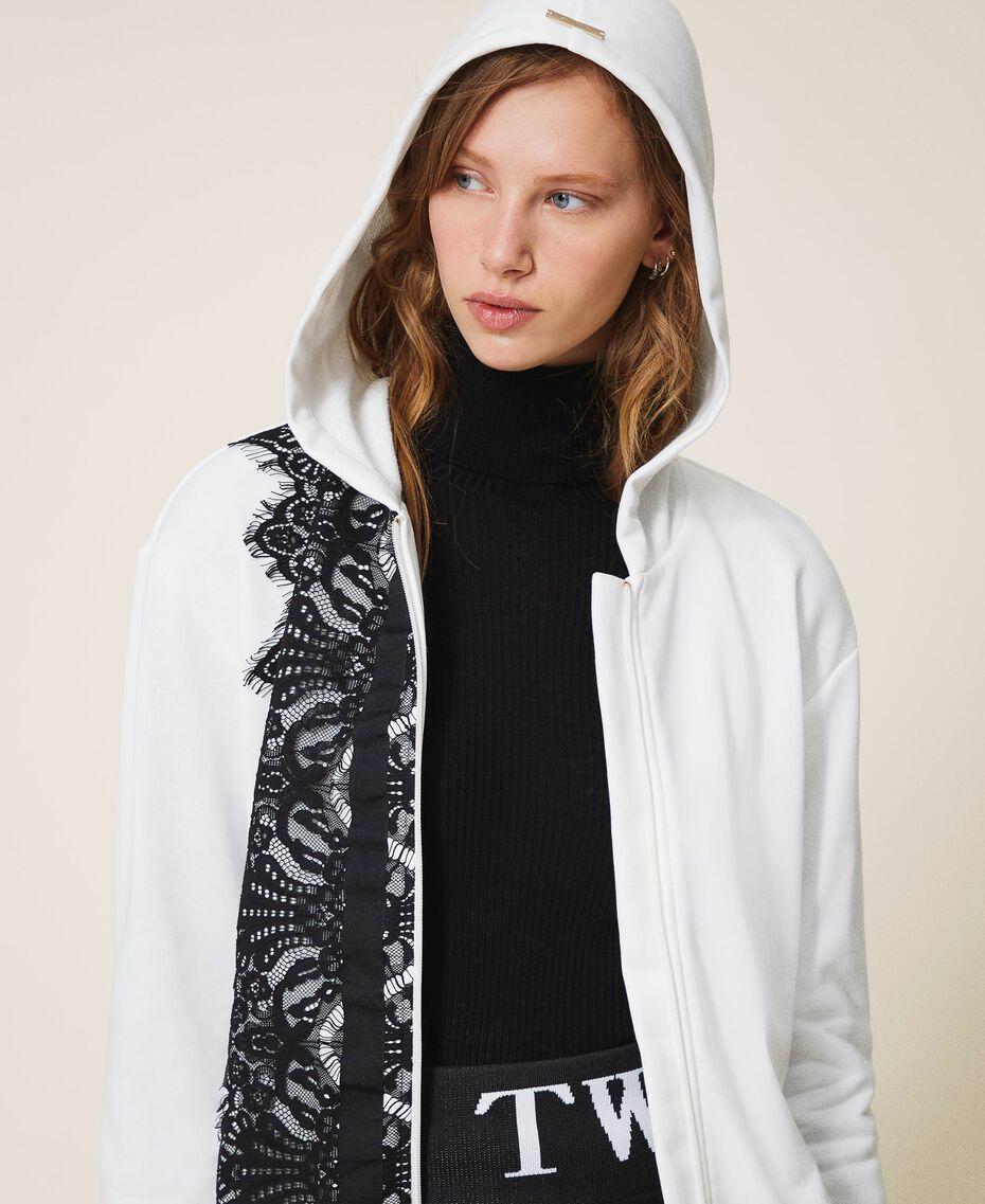 Scalloped lace sweatshirt White Woman 202LI2NHH-01