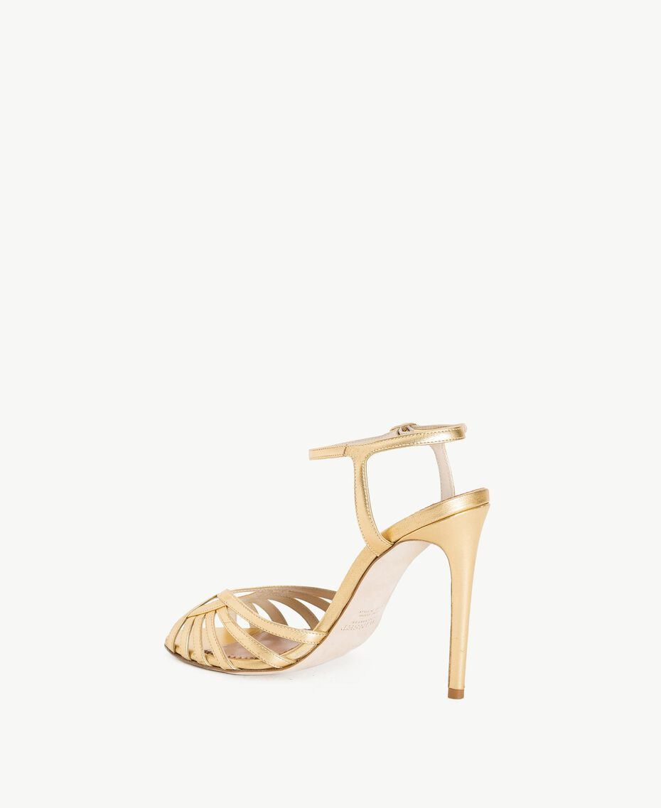 TWINSET Laminated sandals Gold Yellow Woman CS8TBG-03