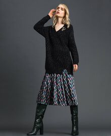 Mohair blend maxi jumper with brooch Black / Lurex Woman 192ST3040-02