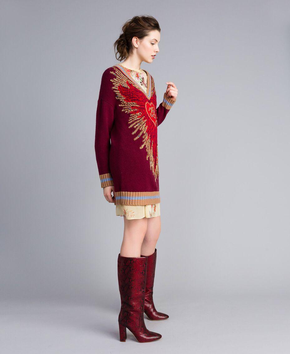 Jacquard wool blend dress Bordeaux Woman PA83HQ-02
