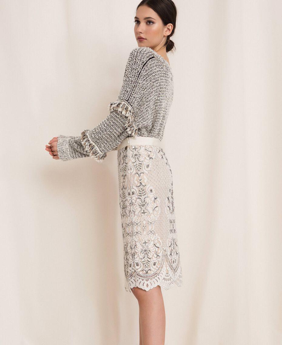 Кружевная юбка с вышивками Слоновая кость женщина 201TP2464-02