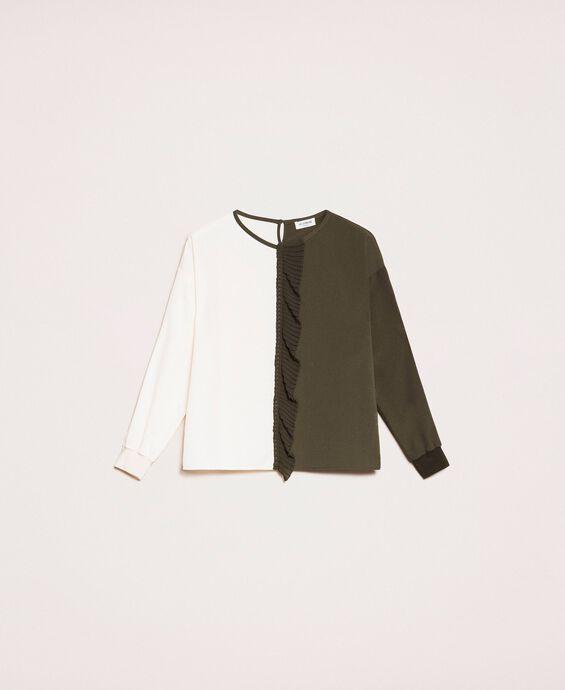 Blusa in crêpe de Chine bicolore