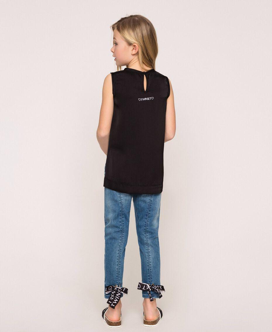 """Jeans skinny con logo Blu """"Denim Medio"""" Bambina 201GJ2375-03"""