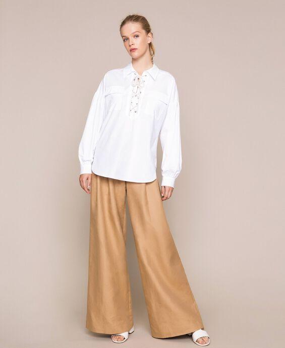 Poplin shirt with braided trim