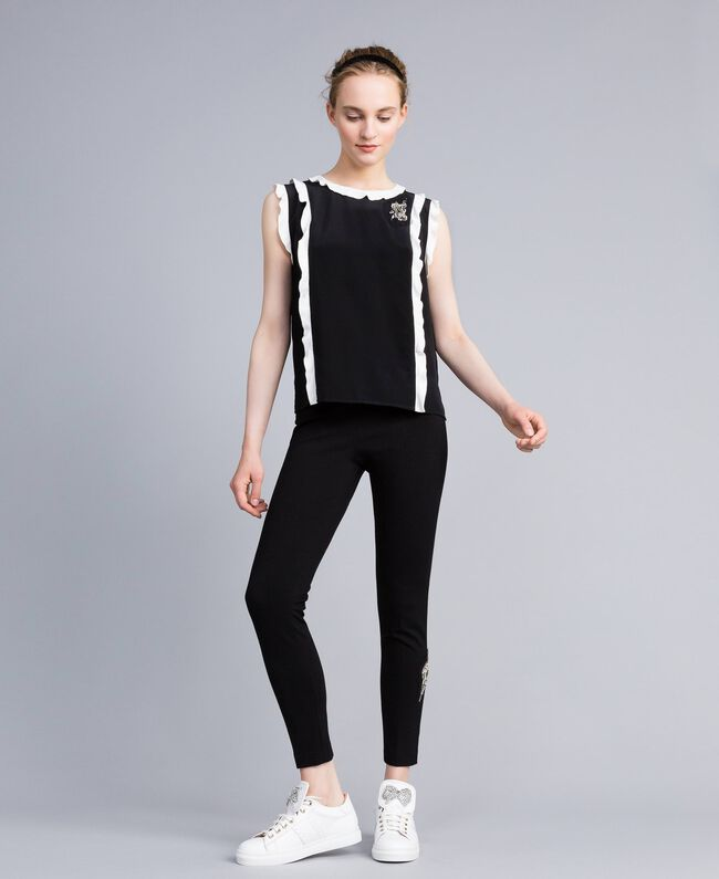 "Top in seta con ruches Bicolor Nero / Bianco ""Neve"" Donna PA82ES-0T"