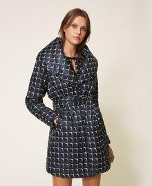 """Optical print puffer jacket Black /""""Nude"""" Beige Optical Print Woman 202ST2190-03"""
