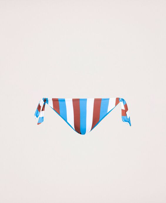Striped thong bikini bottom with tie-up laces