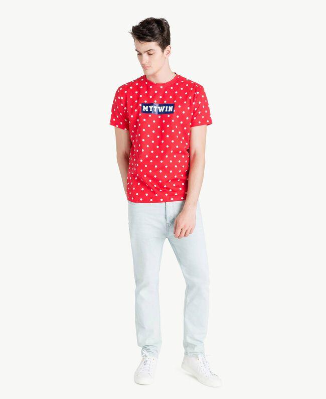 T-Shirt mit Tupfen Geranienrot Mann US8253-05