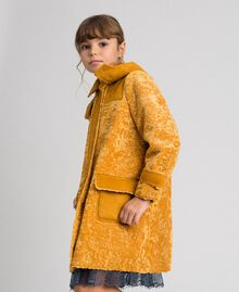 Faux shearling coat with hood Ochre Yellow Child 192GJ2180-02
