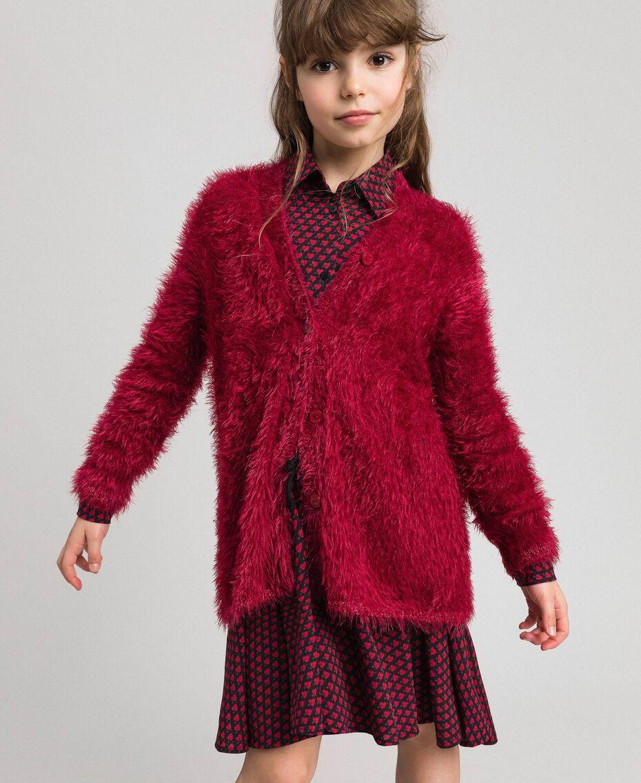 Maxi cardigan in filato effetto pelliccia Rosso Ruby Wine Bambina 192GJ3060-01