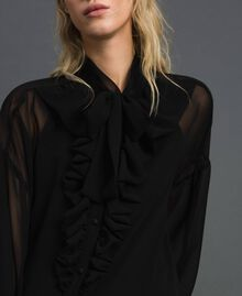 Long asymmetric georgette shirt Black Woman 192MT2062-05