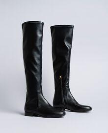 Stivali cuissardes in tessuto stretch Nero Donna CA8PMS-01
