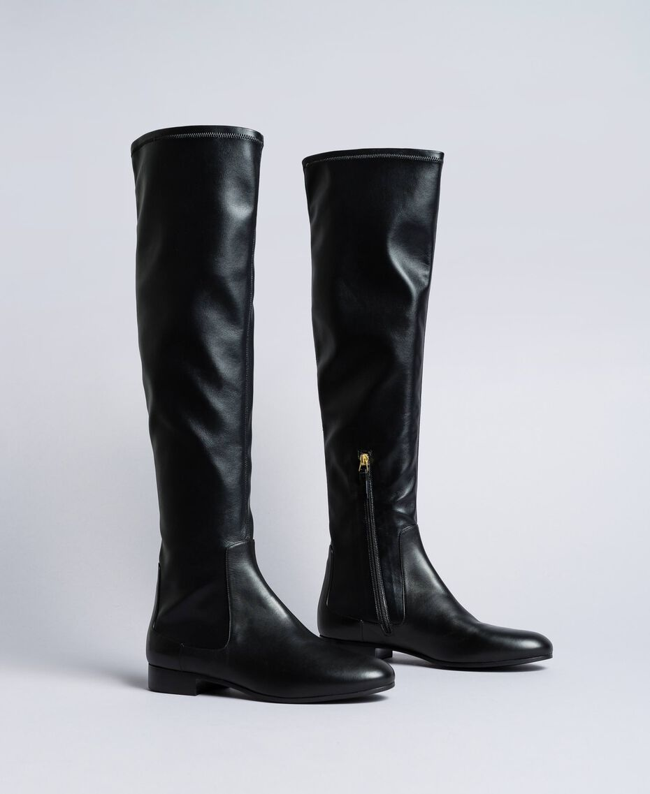 Bottes cuissardes en tissu stretch Noir Femme CA8PMS-01