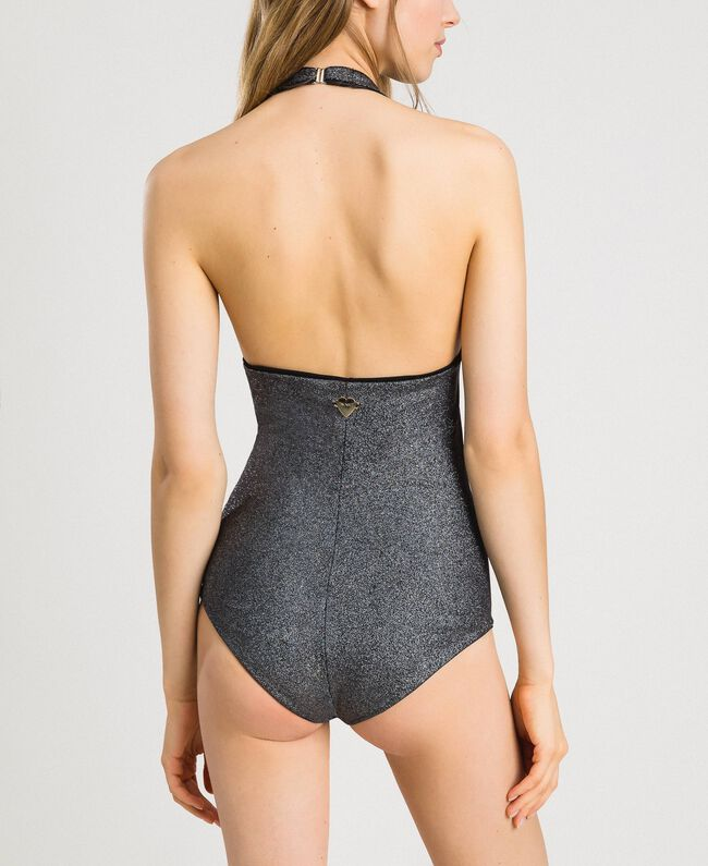 Glitter one-piece swimsuit with a bow Black Woman 191LBM3ZZ-03