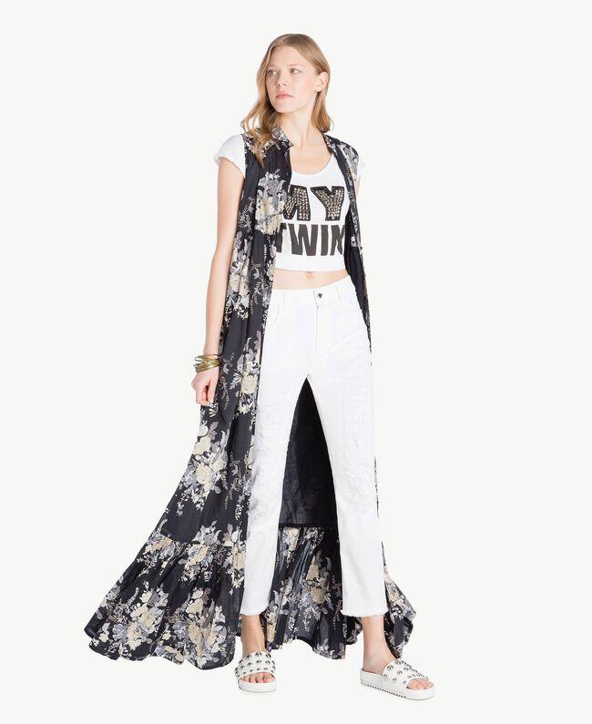 Langes Kleid mit Print Blumenbouquetprint Schwarz Frau YS82PH-05