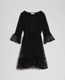 Tulle dress with flounce Black Child 192GJ2460-0S