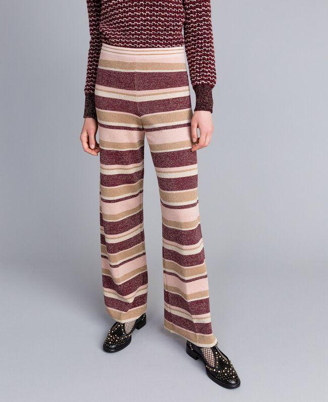 Pantalon palazzo rayé en lurex Multicolore Rose / Bordeaux Femme PA832Q-01
