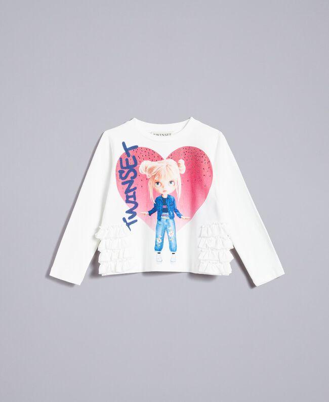 T-Shirt aus Jersey mit Print Mattweiß Kind FA82JD-01