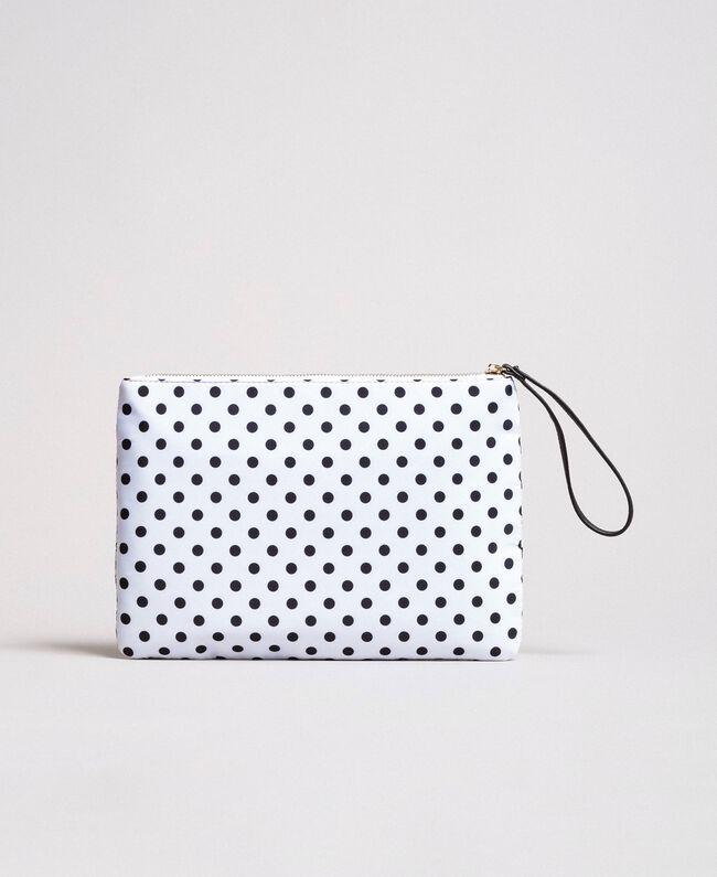 Pochette en tissu technique à pois Imprimé À Pois Blanc / Noir Femme 191MA7123-03