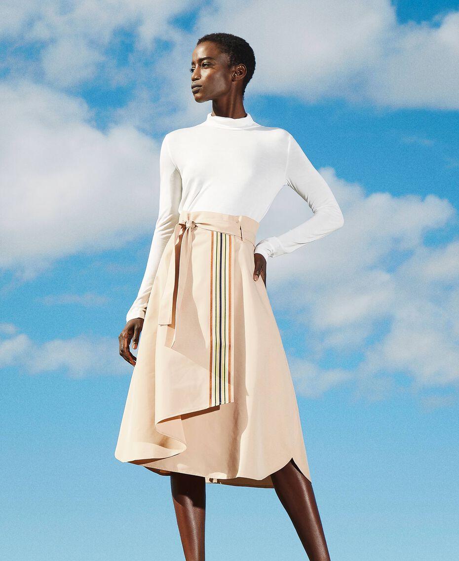 Skirt with multicolour gros-grain Soufflé Nut Brown Woman 202LI2EBB-02