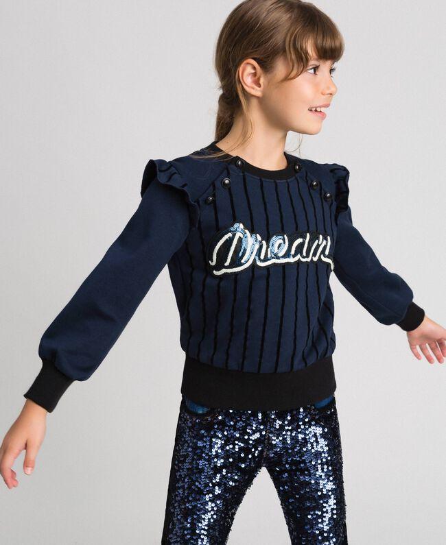 Flocked stripe sweatshirt with buttons Blue Night Child 192GJ2231-01