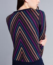 Pullover aus Lurexjacquard mit mehrfarbigem Streifenmuster Jacquard Blau / Lurexstreifen Frau TA838C-03