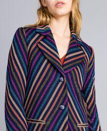Manteau jacquard à rayures lurex Jacquard Rayure Lurex Bleu Femme TA831R-04