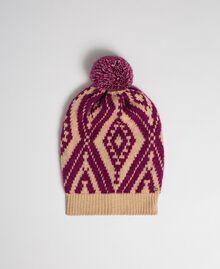Bonnet en laine et cachemire avec pompon Jacquard Ethnique Marron «Iced Coffee» / Rouge Betterave Femme 192TA4419-01