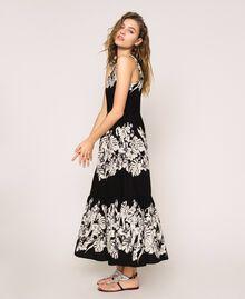 Robe longue en popeline florale Imprimé Fleur Graphique Noir Femme 201TT2313-03