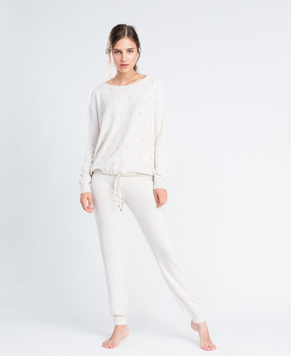 Wool blend jogging trousers Blanc Woman IA8ALL-0S