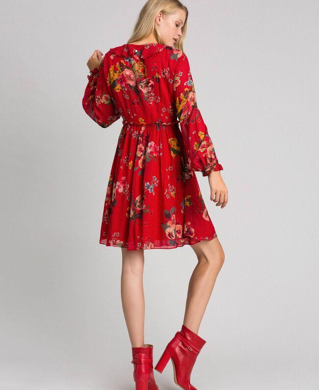 Floral print georgette dress Pomegranate Meadow Print Woman 192TP2752-03