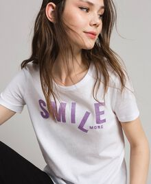 T-shirt with glitter print White Woman 191LB23LL-04