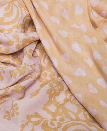 "Zweifarbiges Tuch mit Print Printmix Pink Lavender / ""Seil""-Beige Frau 201TA4369-02"