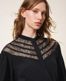 Robe en soie mélangée avec dentelle Noir Femme 202TT2240-04