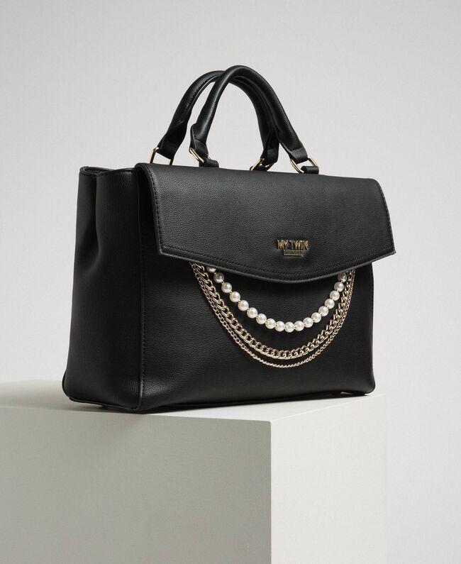 Shopper aus Lederimitat mit Perlen und Kettchen Schwarz Frau 192MA7053-01