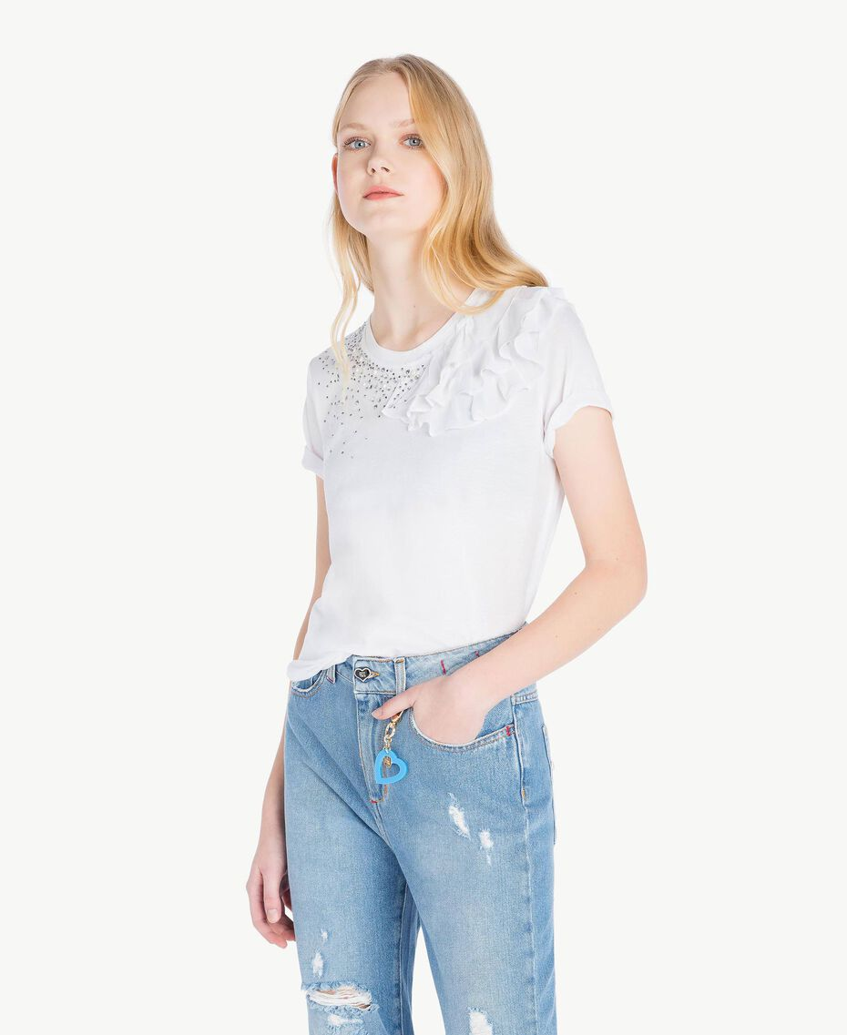 Ruched T-shirt White Woman JS82RS-01