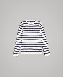 "Crêpe cotton striped jumper Two-tone Opaque White / ""Blackout"" Blue Man 191UT3031-0S"