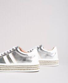 Leder-Sneakers mit Strasssteinen Silber Frau 191TCP170-01