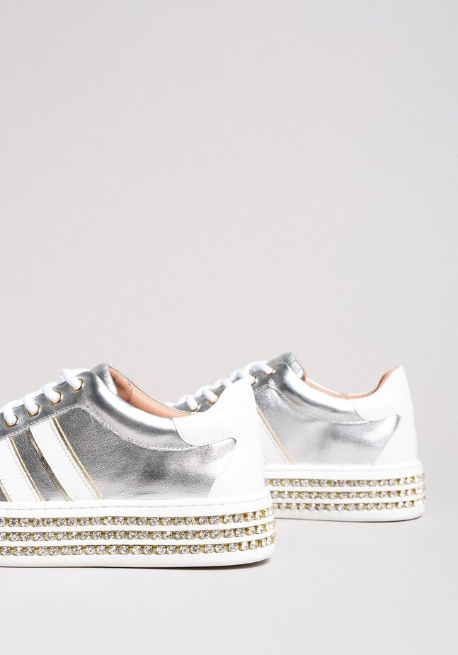 Leather sneakers with rhinestones