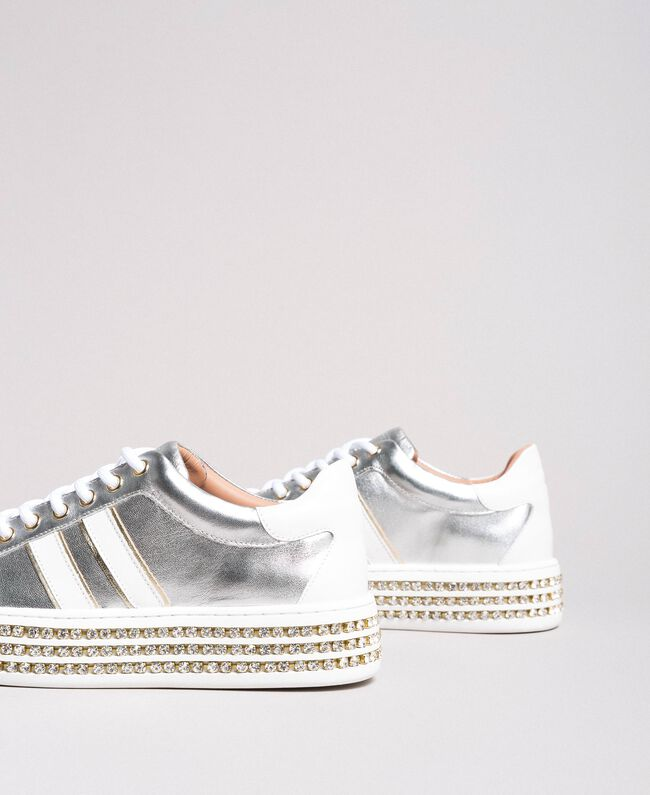 Leather sneakers with rhinestones Silver Woman 191TCP170-01