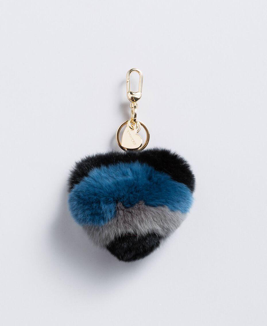 Porte-clés cœur en fourrure multicolore Multicolore Bleu Laiton / Noir Femme OA8TE4-01