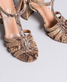 "Sandalias de piel animal print Marrón ""Pitón Roca"" Mujer CA8PQ3-04"